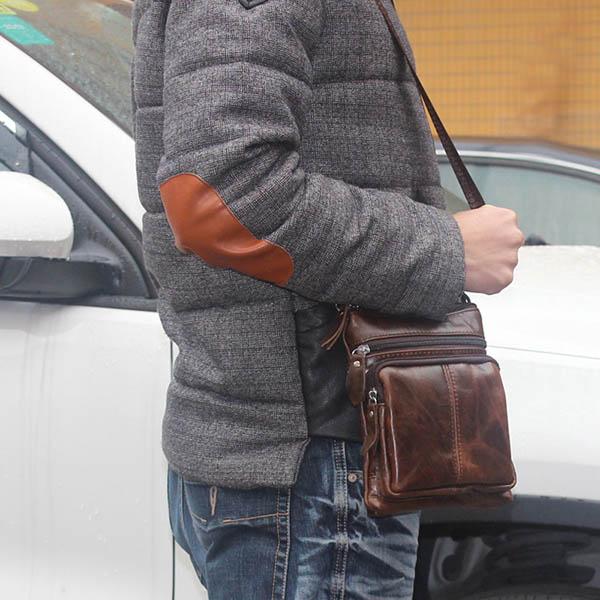 Túi đeo chéo da thật mini LEISURE