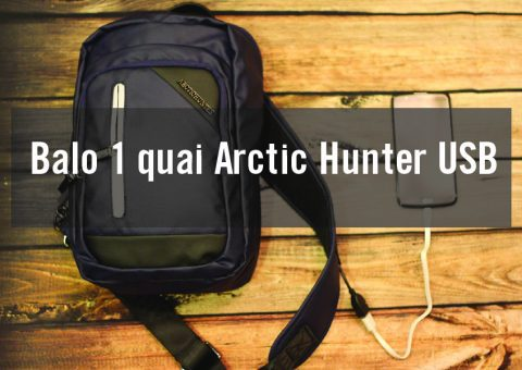 Balo đeo chéo 1 quai Arctic Hunter USB siêu chất 1